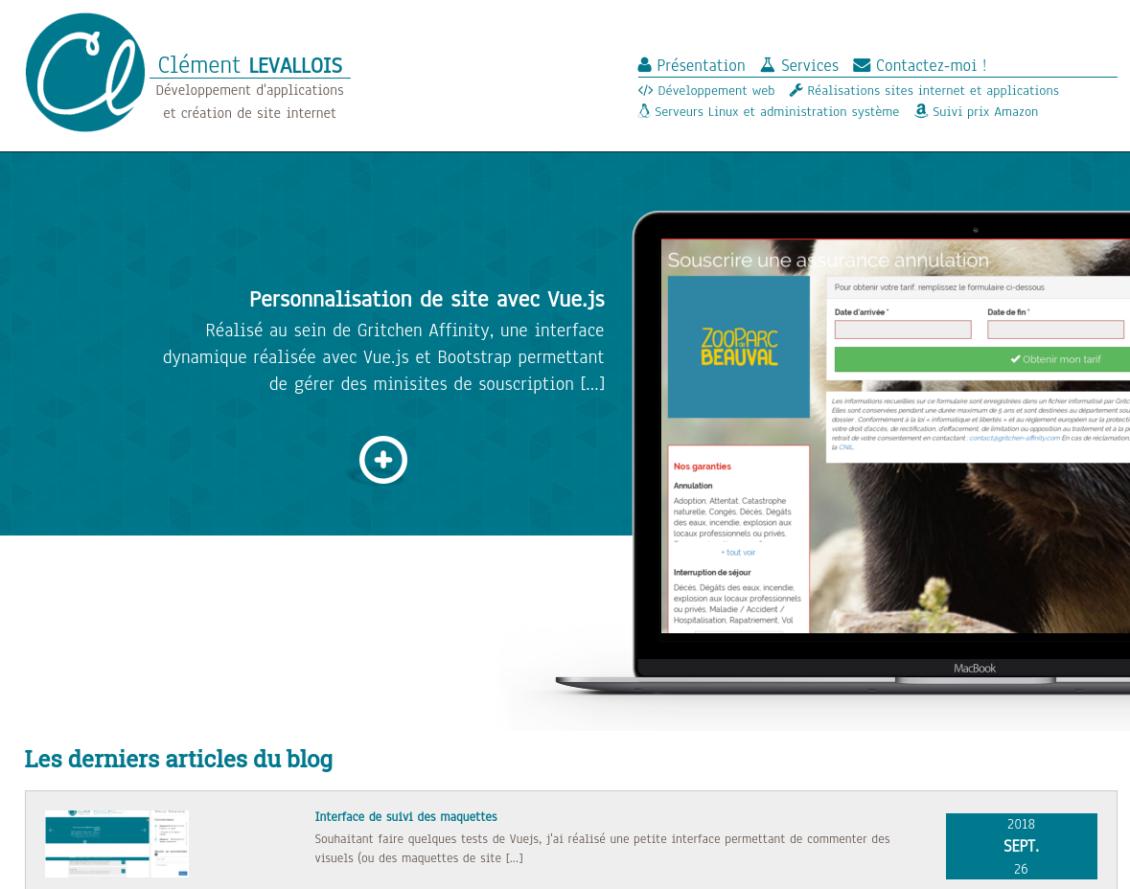 Bootstrap sur le site internet clementlevallois.fr